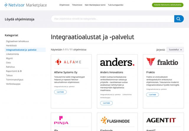 Netvisor Marketplace Integraatiot